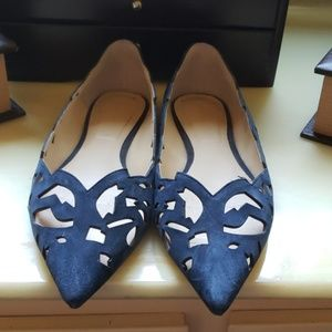 Flats blue suede designed shoe